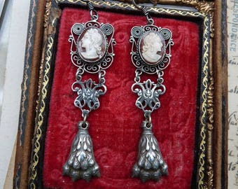 Antique French Lion Paw Cameo Earrings, Virgo Potens, Talismans for the Passionate, by RusticGypsyCreations