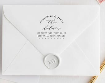 Calligraphy Return Address Stamp, Script Address Stamp, Personalized Address Stamp, Wedding Stamp, Custom Address Stamp, Modern Stamp