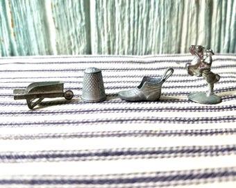 Vintage Monopoly Tokens Classic Game Ephemera Pieces, Horse, Shoe, Thimble, Wheelbarrow
