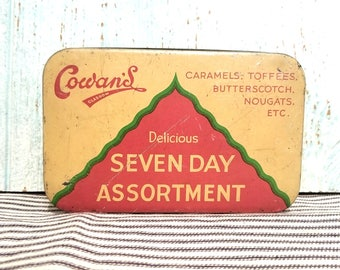 Vintage Candy Tin Cowan's Glasgow Delicious Seven Day Assortment, Authentic Original Candy Box, Choice Selection Caramel Toffee Butterscotch