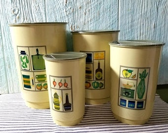 Yearly Big Sale: Vintage Canister Set, 4 Nesting Hard Plastic Mid Century 1960s Flour Sugar Coffee Tea Retro Containers