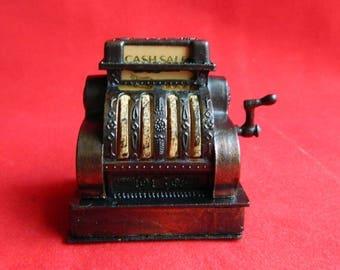 """Vintage Antique Mini Cash Register Pencil Sharpener - Moving Parts - Die Cast Metal Copper Bronze - 2"""" High - Signed HONG KONG"""