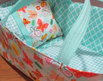 Doll Carrier, Will Fit Bitty Baby Dolls, Colorful Butterflies with Aqua Lining, 16 Inches Long