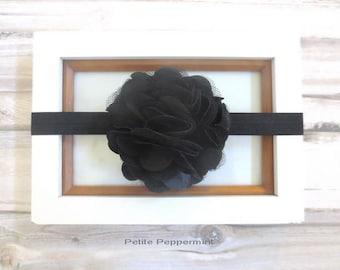 Black baby headband, newborn headband, baby black bow head band, toddler headband, infant headband, girl hair bow, baby girl headband