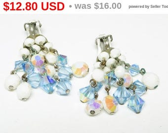 Vintage Dangling Earrings - Cha Cha Style Blue Crystal Beads - White Iridescent bead Clip on Earrings