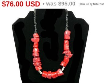 """Chunky Red Coral Bead Necklace - Dyed Red & Black Beads - Large Raw Natural Necklace - Vintage 1990's Modern Jewelry - 19"""" Princess Length"""