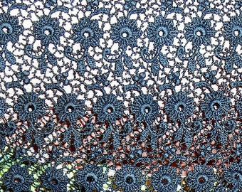Antique Lace Black Floral Lace Remnant