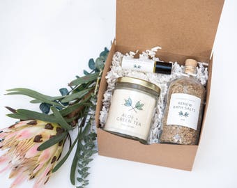 Renew Self Care Day Gift Set - candle, bath salts, roll on perfume oil