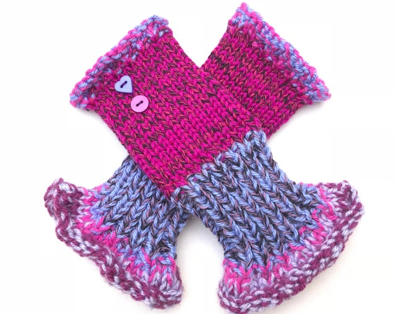 Fingerless Mittens - Very Berry Frilly Fingers - Purple Fingerless Wristwarmers - bright fuchsia fingerless mittens purple fingerless gloves