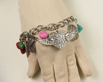 Silver charm bracelet Turquoise coral and tiger eye beads Rhinestone hearts feathers Flying heart Love bracelet Sweetheart bracelet Pristine