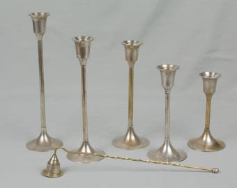 Set of 5 Candle Sticks for Tapers Silver plate  Each one a different height with candle snuffer