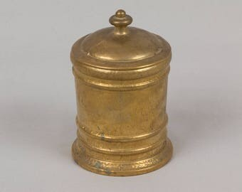 Heavy Brass round box Made in Italy Gold Textured surface