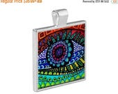 35% Off Today- Eye Sunset Landscape Folk Art Jewelry - Pendant Metal  Gift Art Heather Galler Gift - Anatomy Optometry Medical Surreal Vegan