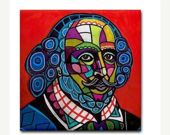 45% Off Today- Shakespeare Art Tile Ceramic Coaster Print of Painting by Heather Galler  Modern Abstract Folk Art Black (HG828)