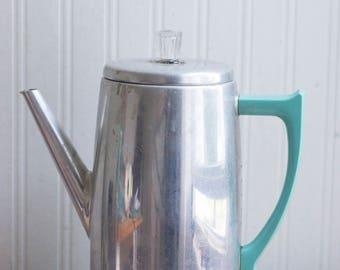 Vintage Percolator, Turquoise Chrome, Mid Century Coffee Maker, Retro Kitsch Kitchen