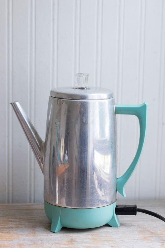 Vintage Percolator Turquoise Chrome Mid Century Coffee