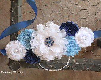 Maternity Sash, Boy Maternity Sash, Blue Maternity Sash, Maternity Flower Sash, Vintage Sash, Royal Blue, Dusty Blue, White, RTS