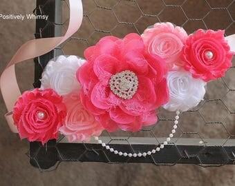 Maternity Sash, Girl Maternity Sash, Heart Sash, Valentine's Day Sash, Pink Sash, Baby Shower Sash, Hot Pink, Pink, Light pink, White, RTS
