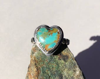 Sweet Turquoise Heart Ring- turquoise heart, heart canochon, heart ring