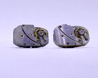 Rectangular Steampunk Cufflinks lovely set of watch movement cufflinks, ideal gift for a wedding, anniversary or birthday 98
