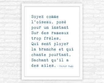 French decor, Victor Hugo quote, French typewriter quote, minimalist art print, be like the bird