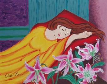 Lady is dreaming with Orchard in front of her