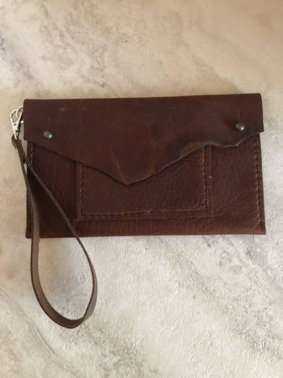 """Handmade Leather Bag, Small Leather """"Lucy"""" Wristlet Bag"""