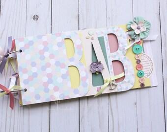 Pastel baby girl scrapbook/ Baby girl gift idea/ Baby shower guestbook / premade scrapbook album / Baby girl shower