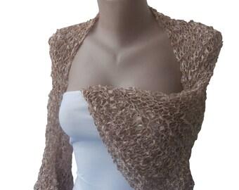 Knit Bolero Shrug Sleeves Wrap, Light Brown, Cappucino Weddings Bridal Bridesmaid Women, Evening Elegant Romantic Summer Knitting