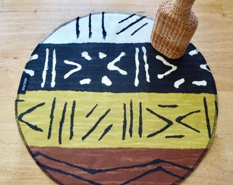 African Mudcloth Inspired Print 16-inch Round Circle Placemats Table Centerpiece Handmade Artisan