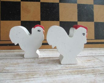 Vintage Handmade Wooden Chickens Hens Shelf Sitters Miniature set of 2  - Wood Folk Art