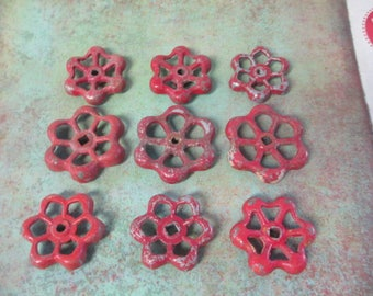 FAUCET HANDLES DISTRESSED - 9 Vintage Red Flower Shaped for Mixed Media, Steampunk Industrial Decor, Altered Art Projects