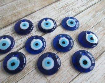 EVIL EYE Pendants 10 Jumbo Glass Lampwork 1 inch Eyes Blue WHOLESALE