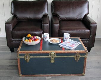 """Mid Century Navy Blue with Red Stripes Trunk, Footlocker """"Great for Coffee Table, Storage, Decorating"""""""