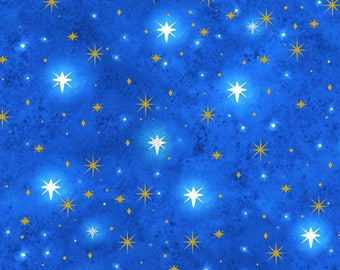 Blue Star Fabric - Quilting Treasures Holy Gathering - Blue Christmas Quilt Fabric By The 1/2 Yard