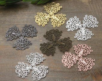 Wholesale 30 Brass Filigree Floral 49mm Stamping Component Raw Brass/ Antique Bronze/ Silver/ Gold/ Rose Gold/ White Gold/ Gun-Metal - Z5682