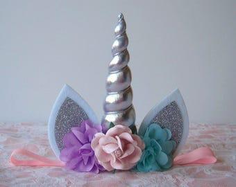 Unicorn Headband - Lavender - Pink - Aqua - Silver - Lilac - Silver Horn - Unicorn Headband - Girl - Toddler - Large Horn - Birthday