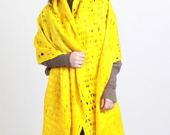 Cobweb yellow citrus felt shawl, yellow waves, long shawl, wool materials, cosy, elegant, Regina Doseth handmade in Lithuania EU