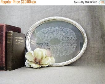 Memorial Day Shabby Oval Silver Plate Tray / Oval Silverplate Tray / Cottage Chic Silver Plate Tray