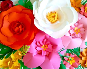 Extra Large Paper Flower Backdrop - Nursery - Room - Event Decor - Tropical Vibes - Girl Bedroom - Custom Order