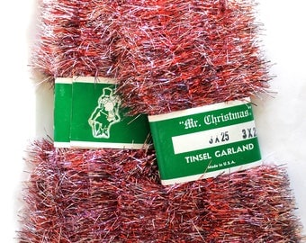 Vintage Lot of 2 1950's Mr Christmas Tree Tinsel Garland! Unopened! Vintage Christmas!