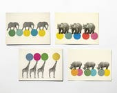 Animal Postcards With Envelopes, Affordable Art, Modern Stationery, Gift Ideas - Roaming Animals