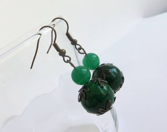 Dark Green Earrings Glass, Green Jewelry Earrings Handmade, Glass Earrings for Women, Green Glass Earrings Dangle, Green Dangle Earrings