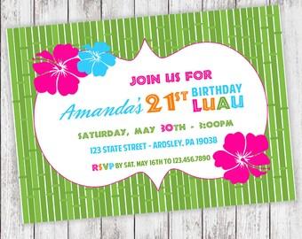 Luau Party Invites - (PRINTED or DIGITAL FILE)