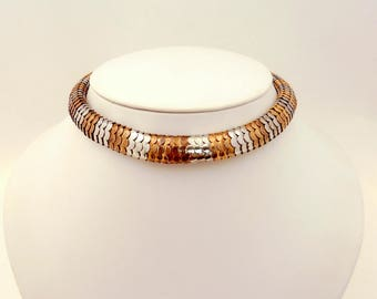 Vintage Kenneth Lane Two Tone Articulated Choker Signed