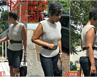Crochet Top Pattern (XS-3X) Crochet Top Crochet - Shirt Plus Size Crochet - Crochet Pattern - Crochet Clothing - Crochet Tank Top - Guchet
