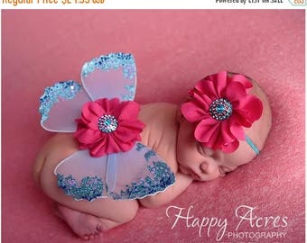 ON SALE Newborn Butterfly Wings and headband, Fairy Wings, Baby Girl Prop, Newborn Photography Prop, Baby Wings, Nylon Wings