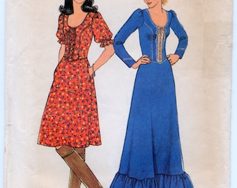 Vintage Misses' Dress in Two Lengths Sewing Pattern - Simplicity 7327 - Size 12, Bust 34 - UNCUT