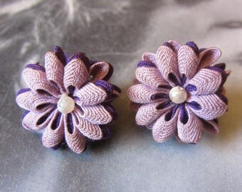 Vintage Mid-Century Handmade Purple Rick Rack Earrings With Pearl