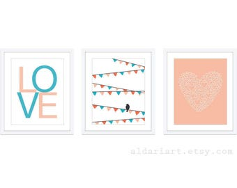 Girl Nursery Wall Art - Bird On Garland Print Love Print Heart Print - Peach Blue Decor - Modern Decor